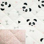 gewatteerde katoen panda en triangels roze