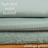 hydrofiel wafel badstof vintage groen