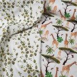 digitale eucalyptus blaadjes & giraffen bomen tricot katoen