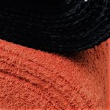 zwarte rib tricot met terracotta badstof.