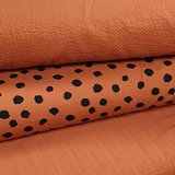 roest terracotta twil - wafeltjes katoen en painted dots tricot