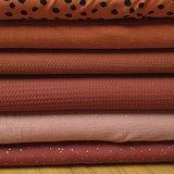 donkerterracotta studs, lichtterracotta studs,donker terracotta wafel,terracotta wafel, roest terracotta katoen, painted dots r