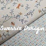 beige blauw wit camel terracotta bosdiertjes vosjes, uilen en muisjes_