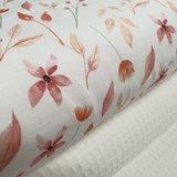 oranje en roze bloemen digitale tricot beebs met ecru wafel