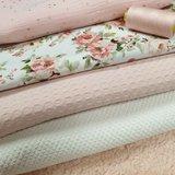 rozen digitaal - teddy katoen roze - poederroze garen - wafel poeder roze - studs hydrofiel - boucle wafel off white
