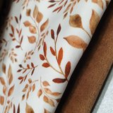 bruine blaadjes tricot met bruine katoenen velvet beebs