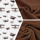 vliegtuig en bruine velvet met bruine fijne rib tricot