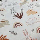 bosdier konijntjes tricot wit terra cognac regenboog