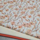 perzik bloem digitaal beebs met  off white en koraal uni tricot