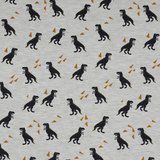 beige melee zwarte dino en oker triangels - tricot