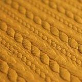 geel mosterdoker kabel jacquard tricot