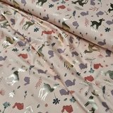 poeder roze mauve mat gouden bosdiertjes x-mas - glitter tricot