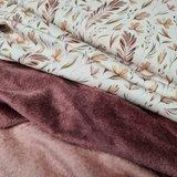 wilde bladeren botanisch rib tricot beebs met mauve - oud roze wellness fleece dubbelzijdig