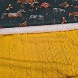 groen terracotta grijs cognac camel tijger flamingo eenhoorn olifant en bugs digitaal - tricot met gele kabel tricot en spierwi
