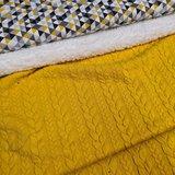 triangelmix katoen tricot met gele kabel tricot en spierwitte katoenen teddy