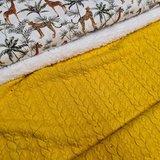 giraf en jungle digitale poplin katoen tricot met gele kabel tricot en spierwitte katoenen teddy