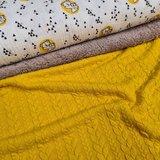 roxx koala hydrofiel geel katoen tricot met gele kabel tricot en beige katoenen teddy