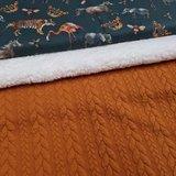 groen terracotta grijs cognac camel tijger flamingo eenhoorn olifant en bugs digitaal - tricot met cognac kabel tricot en spier