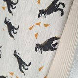 beige melee zwarte dino en oker triangels - tricot met natural rib tricot