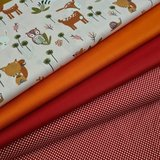 bosdiertjes swessie met oranje rood en rode uni katoen en nieuwe stipjes roodwit