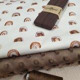 minky bruin met regenboogjes stof BEEBS - biasband tricot bruin en garen bruin