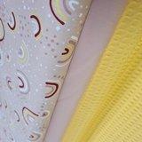 gele wafel en nude poplin en roze regenboogjes (1)