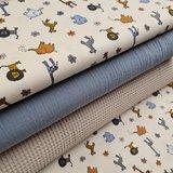 beige (kiezel) blauw grijs oker grijs cognac giraf zebra leeuw olifant jungle diertjes met kiezel wafel en licht jeans blauw hy