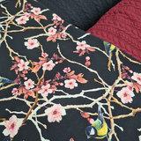 lotus bloem en koolmeesje met donker rood en zwart kabel tricot
