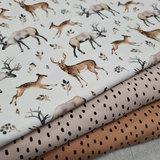 french teddy confetti biologische in  kiezel en camel met hertjes bosdiertjes tricot BEEBS