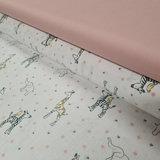 wit licht grijs geel army poeder zebra olifant vogeltjes bloemetjes diertjes biologisch met nude roze katoen poplin