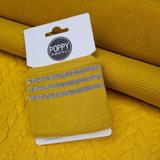 oker goud - grijs oker (glitter) boordstof 7cm breed - 135cm-kaartje met kabel tricot - fijn rib tricot - wafel tricot