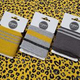 donker grijs zilver - oker goud - grijs oker (glitter) boordstof 7cm breed - 135cm-kaartje met luipaard rondjes tricot oker