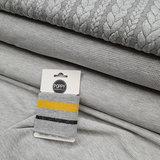 grijs oker goud - grijs oker (glitter) boordstof 7cm breed - 135cm-kaartje met kabel tricot - fijn rib tricot - wafel tricot