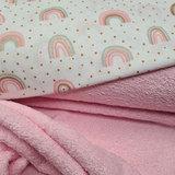 regenboog met glitter en licht roze badstof dubbel gelust