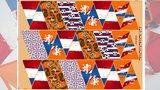 oranje rood wit blauw Holland voetbal vlaggenlijn katoenen paneel stof 18/36 vlaggetjes
