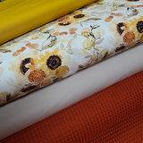 wit (off white) oker kiezel perzik oranje olijf groen zonnebloem digitaal met terracotta wafel en kiezel en mosterd poplin