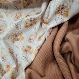 perzik fijne katoenen Wafel tricot - ribtricot soft met paardenbloem pluis tricot