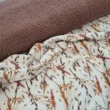 wit (off white) camel groen bruin roze herfst droog bloemen digitaal fijne katoenen Baby RIB tricot met mauve baby teddy