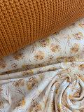 wit (off white) oker camel cognac paardenbloempluis bloemen - digitaal tricot met cognac big knit @BEEBS