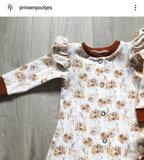 wit (off white) oker camel cognac paardenbloempluis bloemen - digitaal tricot gemaakt door klant