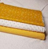 wafel geel, traingel geel en minky wit en badstof wit