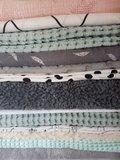 bamboekatoen - wafel jacquard - grote wafel - teddy donker grijs - hydrofiel veertje donker grijs - tricot painted dots - minky