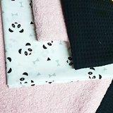 panda zwarte wafel en roze  badstof