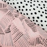 roze streepjes grijs zwart wit met painted dots tricot