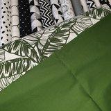 swessie bladeren en moss groen uni katoen