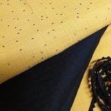 wafeltjes tricot zwart, uni en studs hydrofiel mosterd oker met pompom band