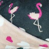 flamingo roze en hartje - donkergrijs knuffelfleece
