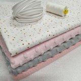piping koper, poederroze garen tricot biasband met flamingo foilprint en wafel