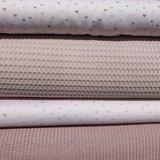 licht oud roze big knit, wafel en bijpassende katoen met plusjes en hartjes