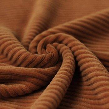 cognac katoenen ribfluweel tricot